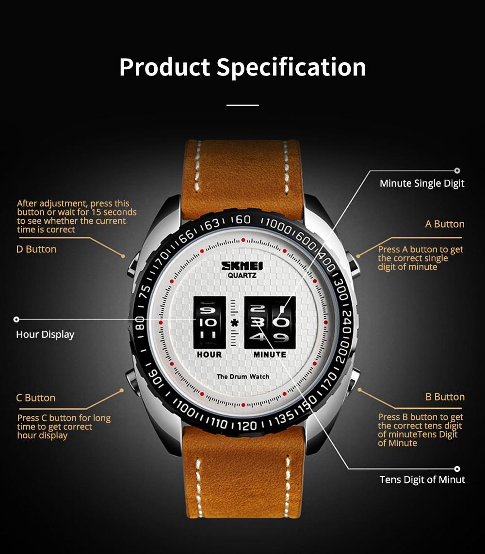 Fashionable Casual Men's Drum Watch with Genuine Leather Bracelet Waterproof Qualified Quartz Movement Wristwatch Round Dial Roller Wrist Watch 7