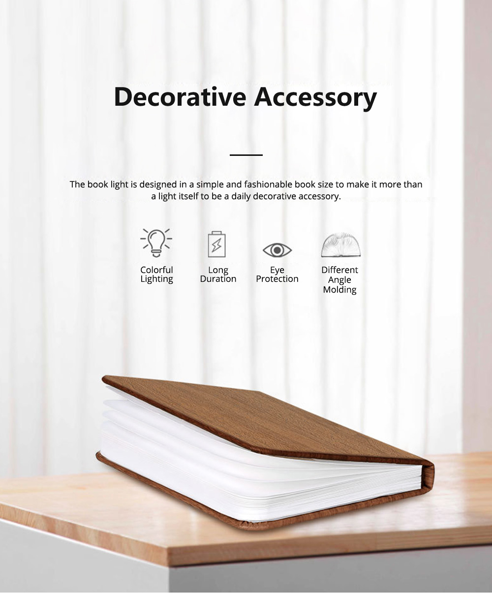 Creative PU Wood Grain Book Light with Five Color Auto Gradient Ramp Rechargeable Foldable LED Book Lamp Stylish USB Night Lamp 1