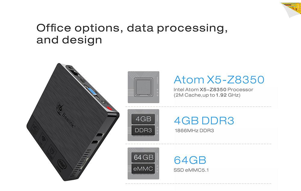 Beelink BT3 PRO II 4G/64G Mini Computer Mini PC Win10 BT 4.0 1000Mbps LAN 2.4/5.8G WIFI 12