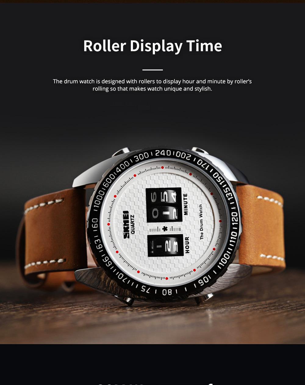 Fashionable Casual Men's Drum Watch with Genuine Leather Bracelet Waterproof Qualified Quartz Movement Wristwatch Round Dial Roller Wrist Watch 1