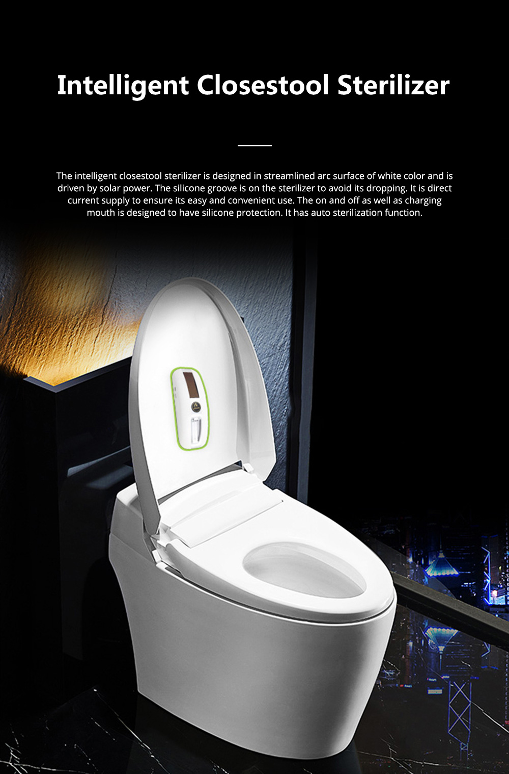 Solar-powered Intelligent Closestool Sterilizer for Household Toilet Use UV Sterilization Toilet Disinfector Easy Use Pedestal Pan Sterilizing Tool 0
