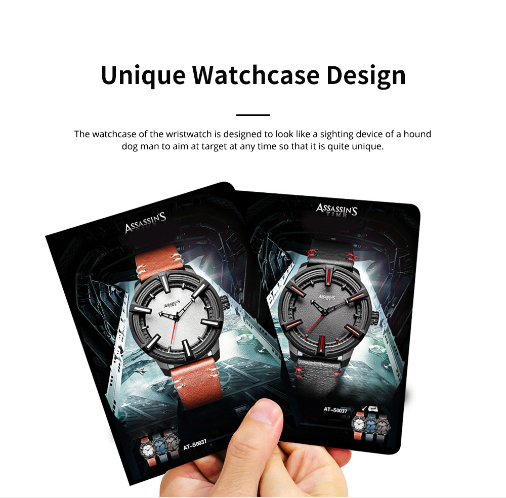Western Style Genuine Leather Men's Wristwatch with Japanese Quartz Movement Waterproof Sports Wrist Watch Universal Watch for Men 9
