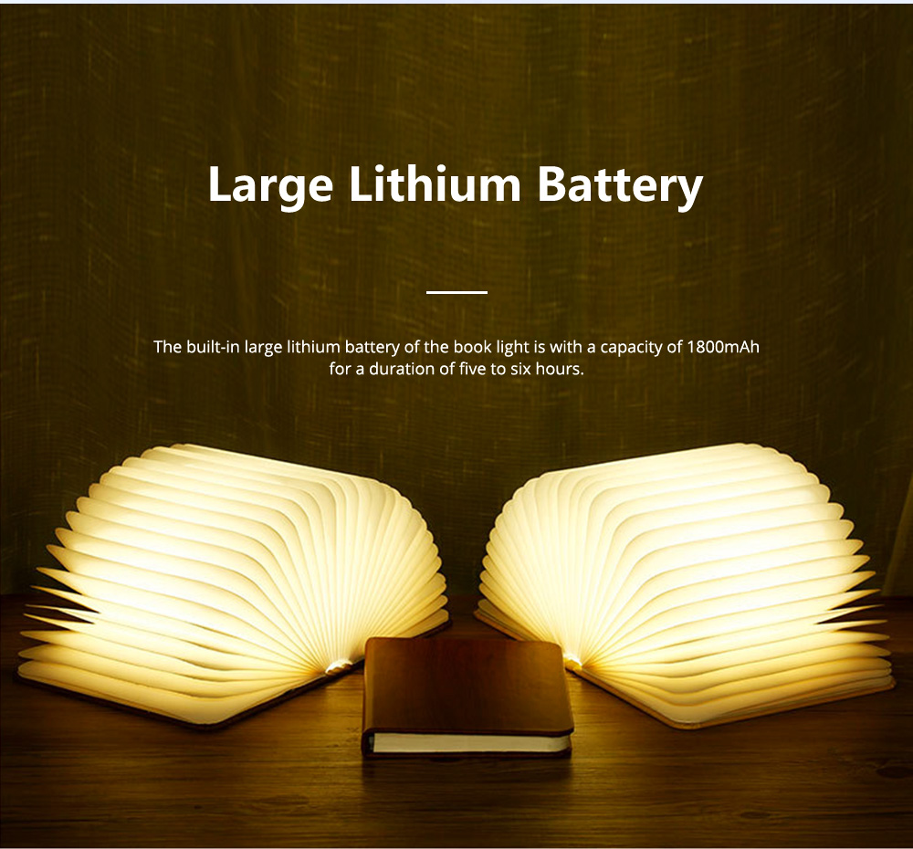 Creative PU Wood Grain Book Light with Five Color Auto Gradient Ramp Rechargeable Foldable LED Book Lamp Stylish USB Night Lamp 9