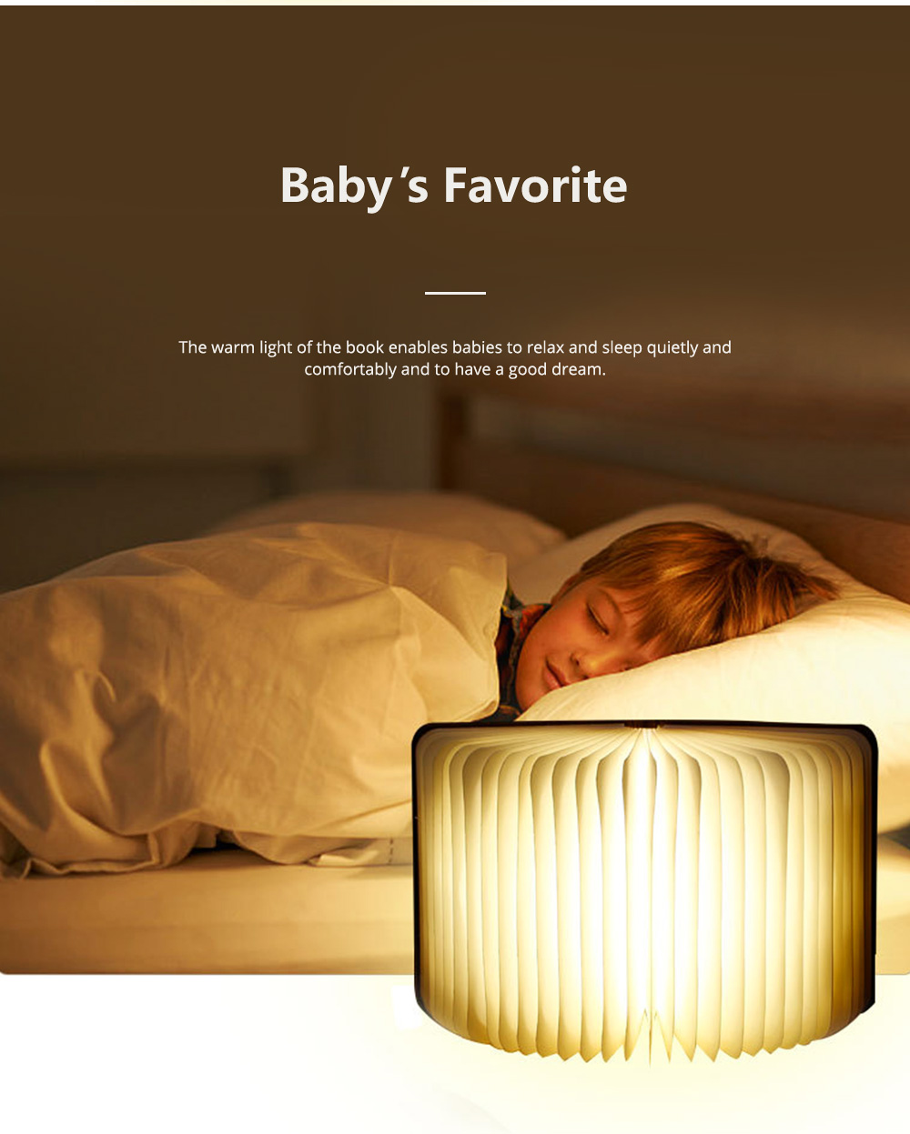 Creative PU Wood Grain Book Light with Five Color Auto Gradient Ramp Rechargeable Foldable LED Book Lamp Stylish USB Night Lamp 3