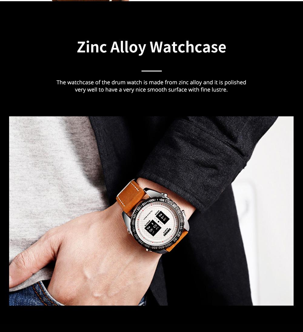 Fashionable Casual Men's Drum Watch with Genuine Leather Bracelet Waterproof Qualified Quartz Movement Wristwatch Round Dial Roller Wrist Watch 4