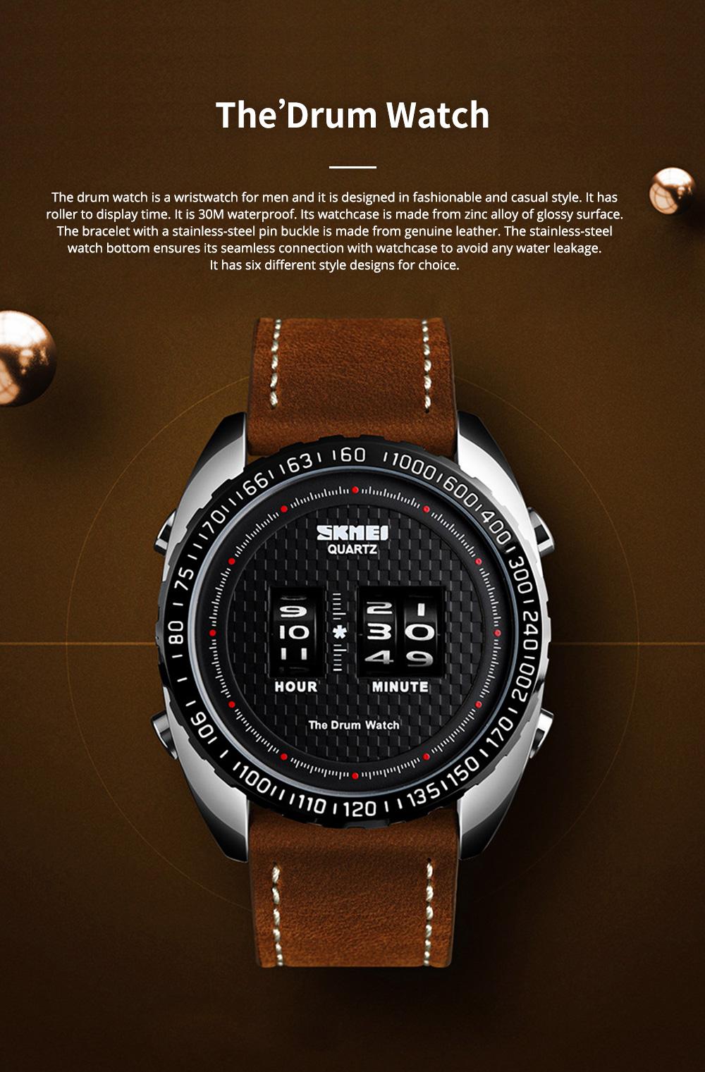 Fashionable Casual Men's Drum Watch with Genuine Leather Bracelet Waterproof Qualified Quartz Movement Wristwatch Round Dial Roller Wrist Watch 0