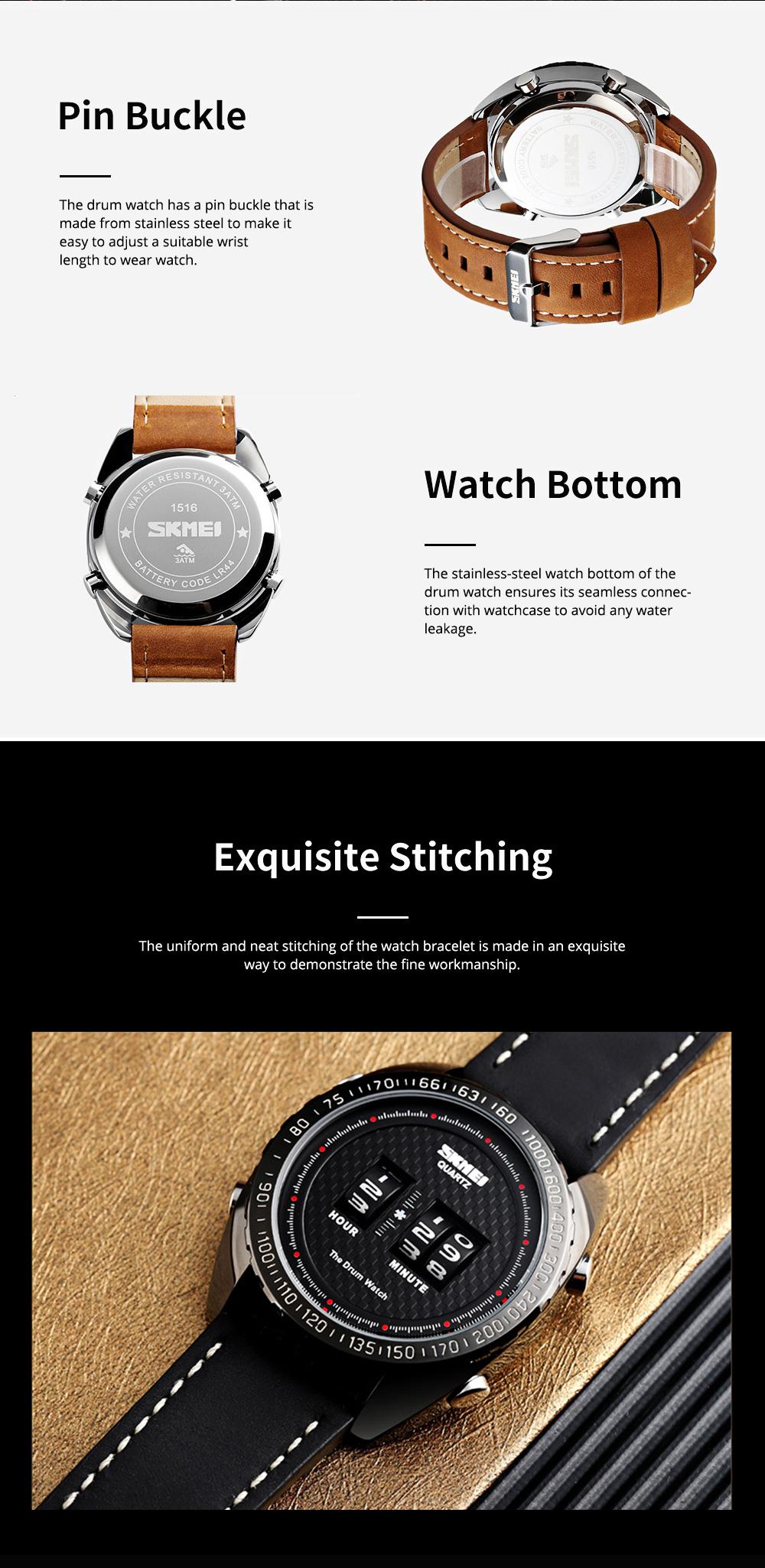 Fashionable Casual Men's Drum Watch with Genuine Leather Bracelet Waterproof Qualified Quartz Movement Wristwatch Round Dial Roller Wrist Watch 6