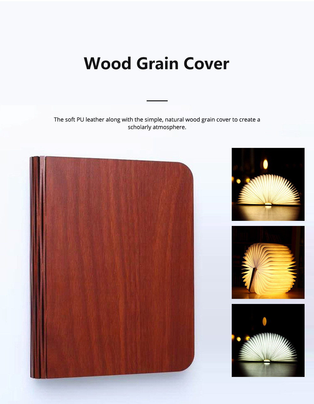 Creative PU Wood Grain Book Light with Five Color Auto Gradient Ramp Rechargeable Foldable LED Book Lamp Stylish USB Night Lamp 8