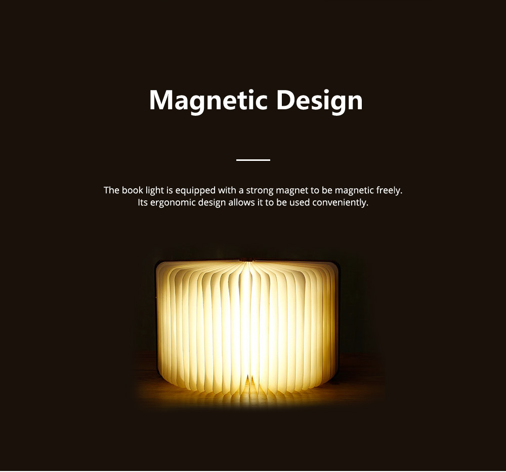 Creative PU Wood Grain Book Light with Five Color Auto Gradient Ramp Rechargeable Foldable LED Book Lamp Stylish USB Night Lamp 13