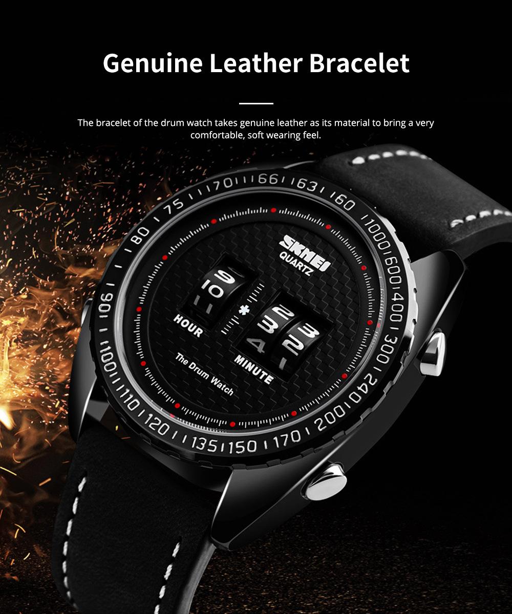 Fashionable Casual Men's Drum Watch with Genuine Leather Bracelet Waterproof Qualified Quartz Movement Wristwatch Round Dial Roller Wrist Watch 5