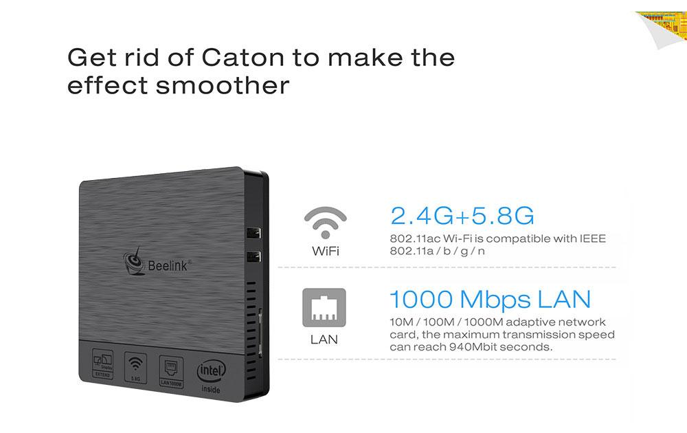 Beelink BT3 PRO II 4G/64G Mini Computer Mini PC Win10 BT 4.0 1000Mbps LAN 2.4/5.8G WIFI 13
