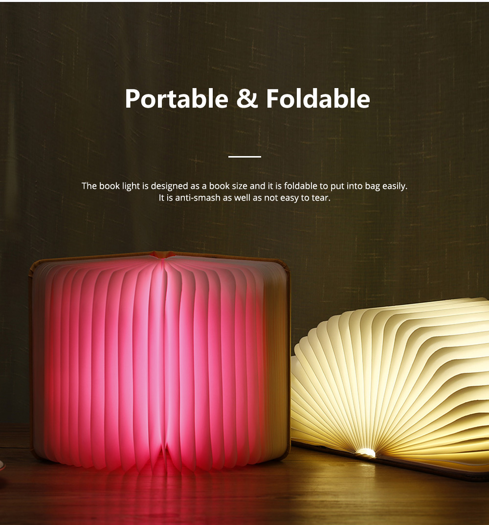 Creative PU Wood Grain Book Light with Five Color Auto Gradient Ramp Rechargeable Foldable LED Book Lamp Stylish USB Night Lamp 12
