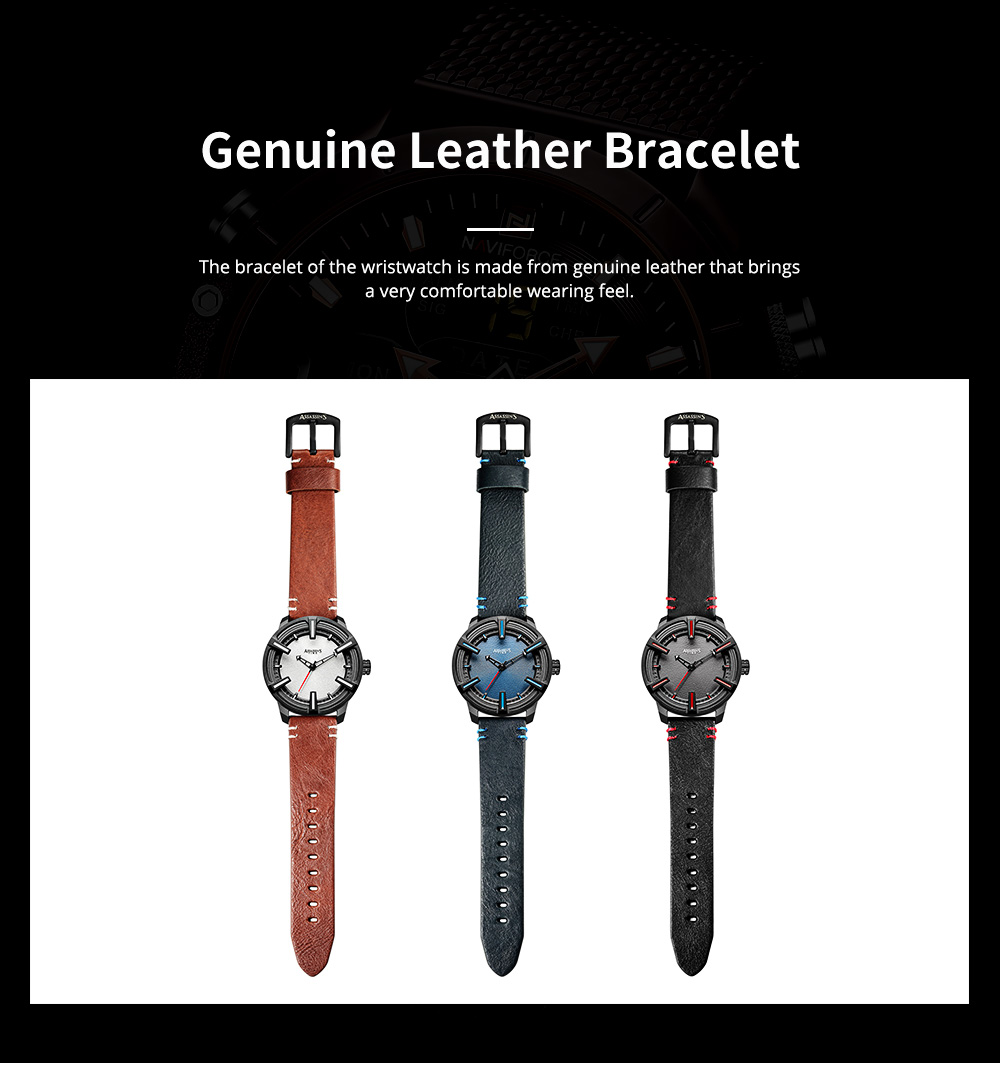 Western Style Genuine Leather Men's Wristwatch with Japanese Quartz Movement Waterproof Sports Wrist Watch Universal Watch for Men 4