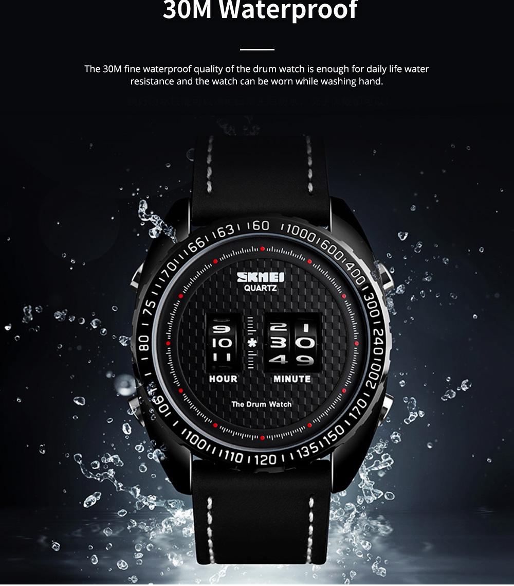 Fashionable Casual Men's Drum Watch with Genuine Leather Bracelet Waterproof Qualified Quartz Movement Wristwatch Round Dial Roller Wrist Watch 2