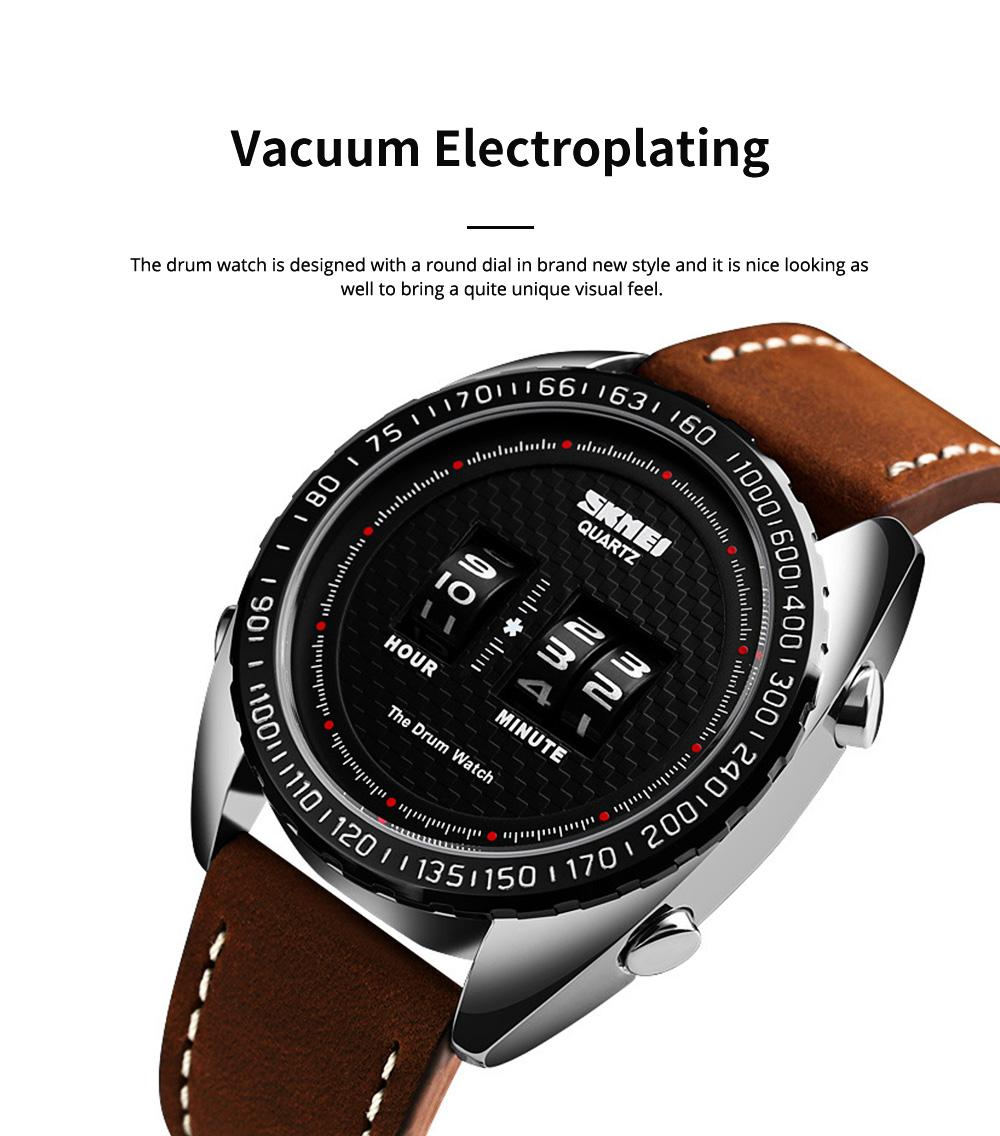 Fashionable Casual Men's Drum Watch with Genuine Leather Bracelet Waterproof Qualified Quartz Movement Wristwatch Round Dial Roller Wrist Watch 3