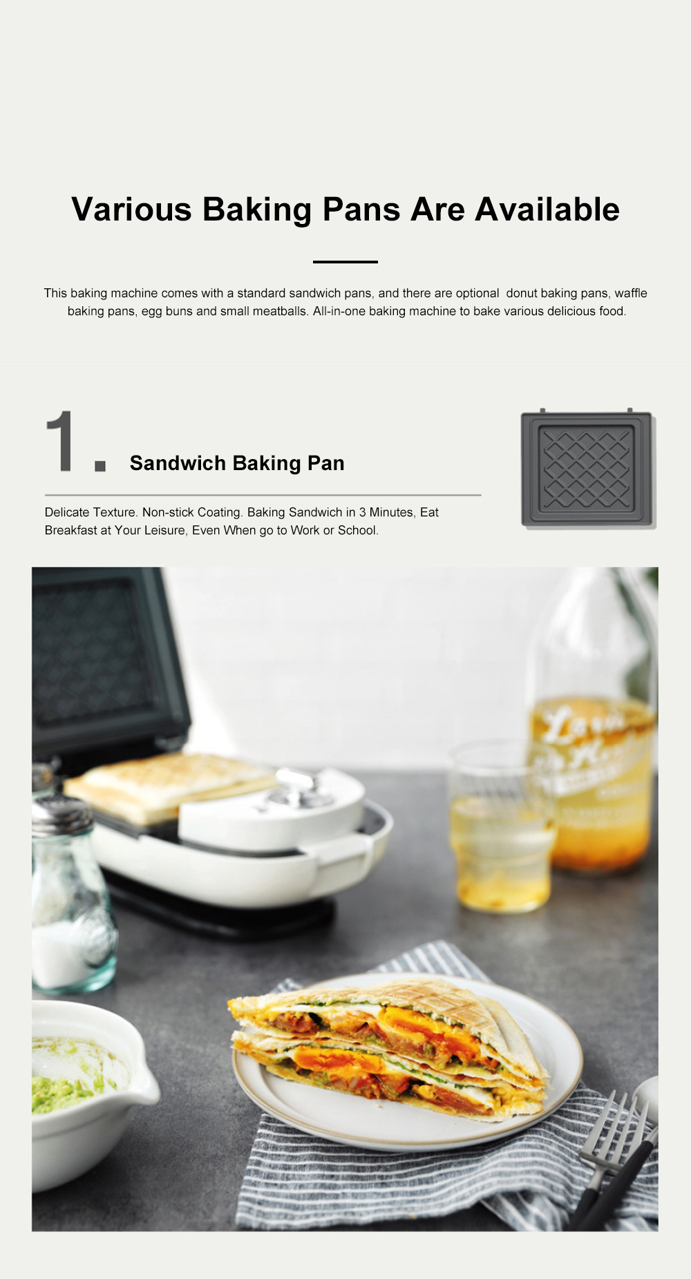 Sandwich Baking Pan Multifunctional Timing Breakfast Machine for Quick Baking Waffle Automatic Home Toaster 2