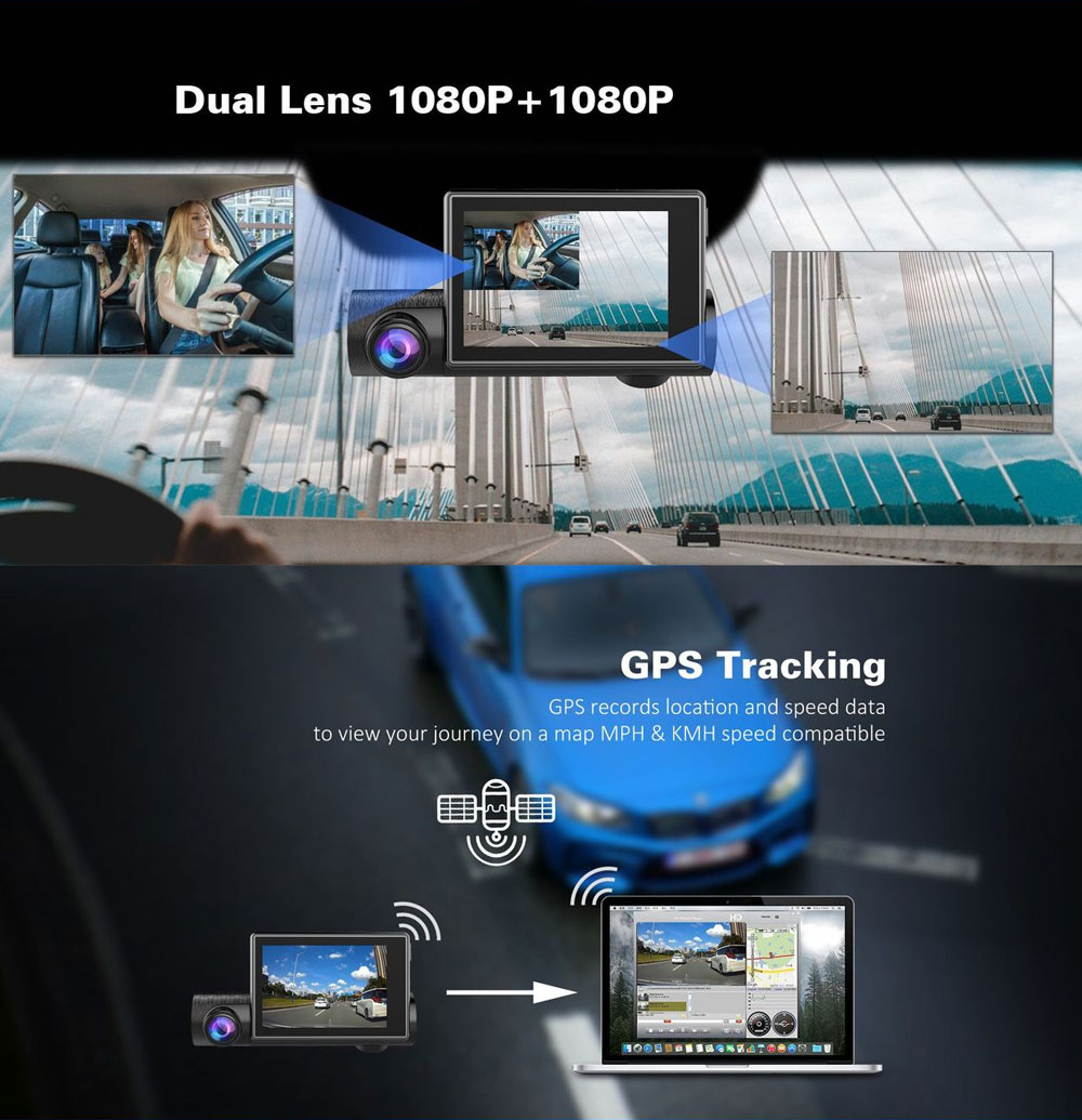 1080P GPS Dash Camera Full HD Car Driving Recorder with 140°Viewing Angle and 3 Inch Touch Screen for Taxi and Car 5