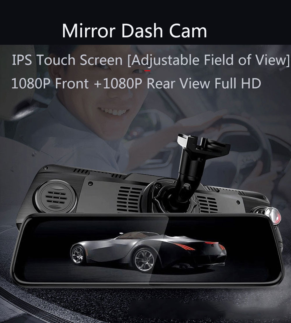 Back-looking Panoramic 360-degree Mirror Dash Cam Driving Recorder with Full HD 1080p Front and Rear 0