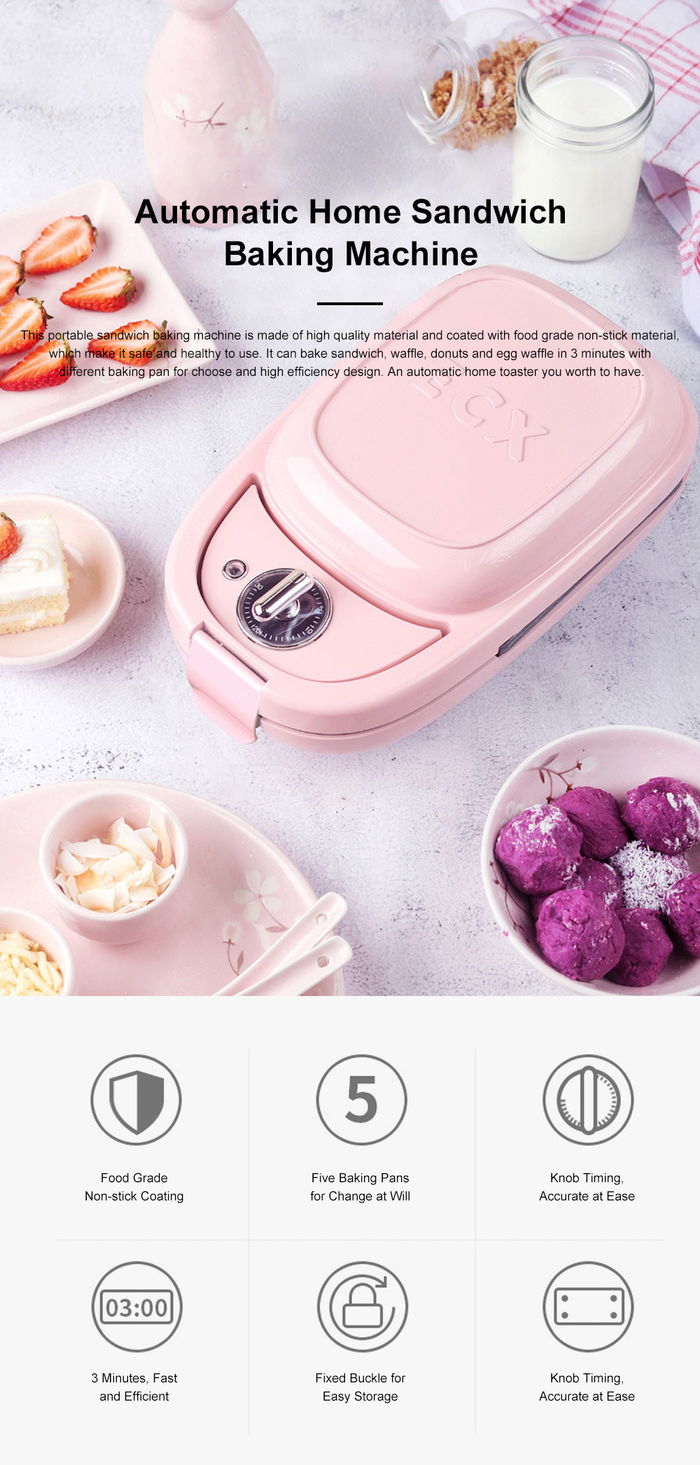 Sandwich Baking Pan Multifunctional Timing Breakfast Machine for Quick Baking Waffle Automatic Home Toaster 0