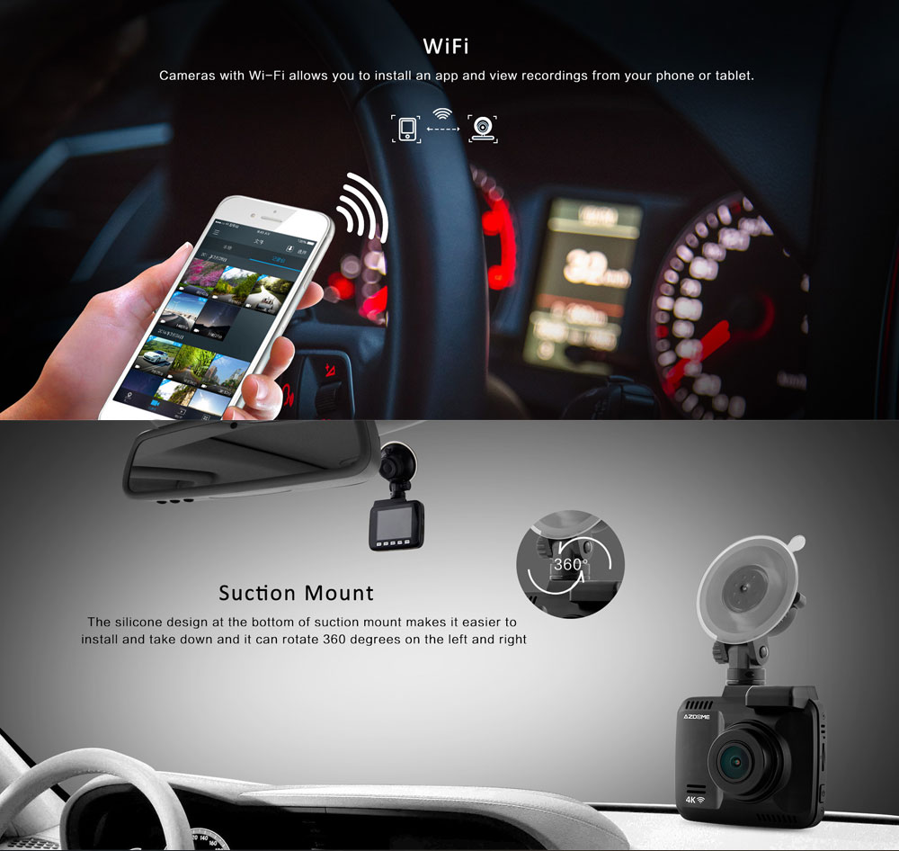GS63H Functional Night Vision Wide Angle 4K WIFI Automobile Dash Cam Data Recorder with Suction Mount GPS Track G-Sensor 3
