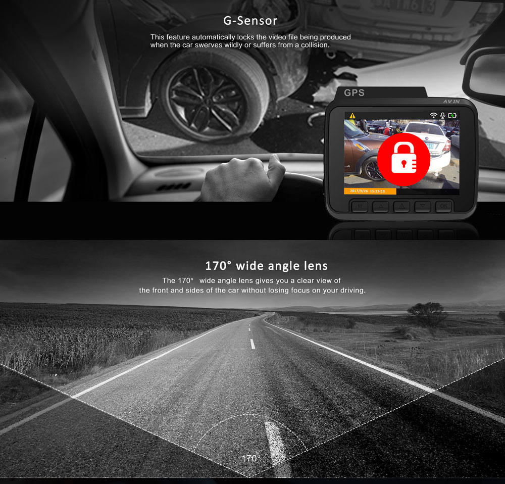 GS63H Functional Night Vision Wide Angle 4K WIFI Automobile Dash Cam Data Recorder with Suction Mount GPS Track G-Sensor 2