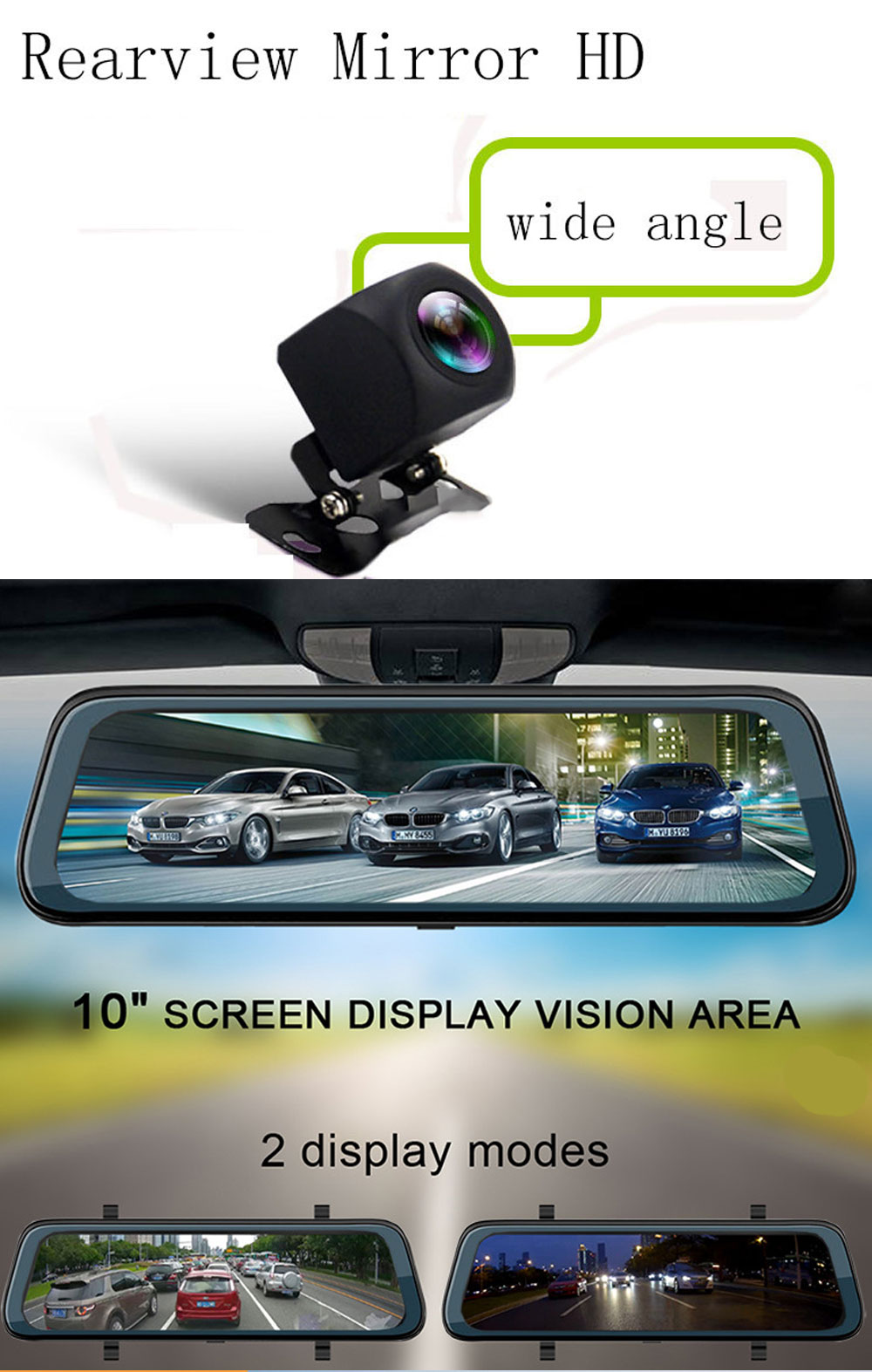 Back-looking Panoramic 360-degree Mirror Dash Cam Driving Recorder with Full HD 1080p Front and Rear 3