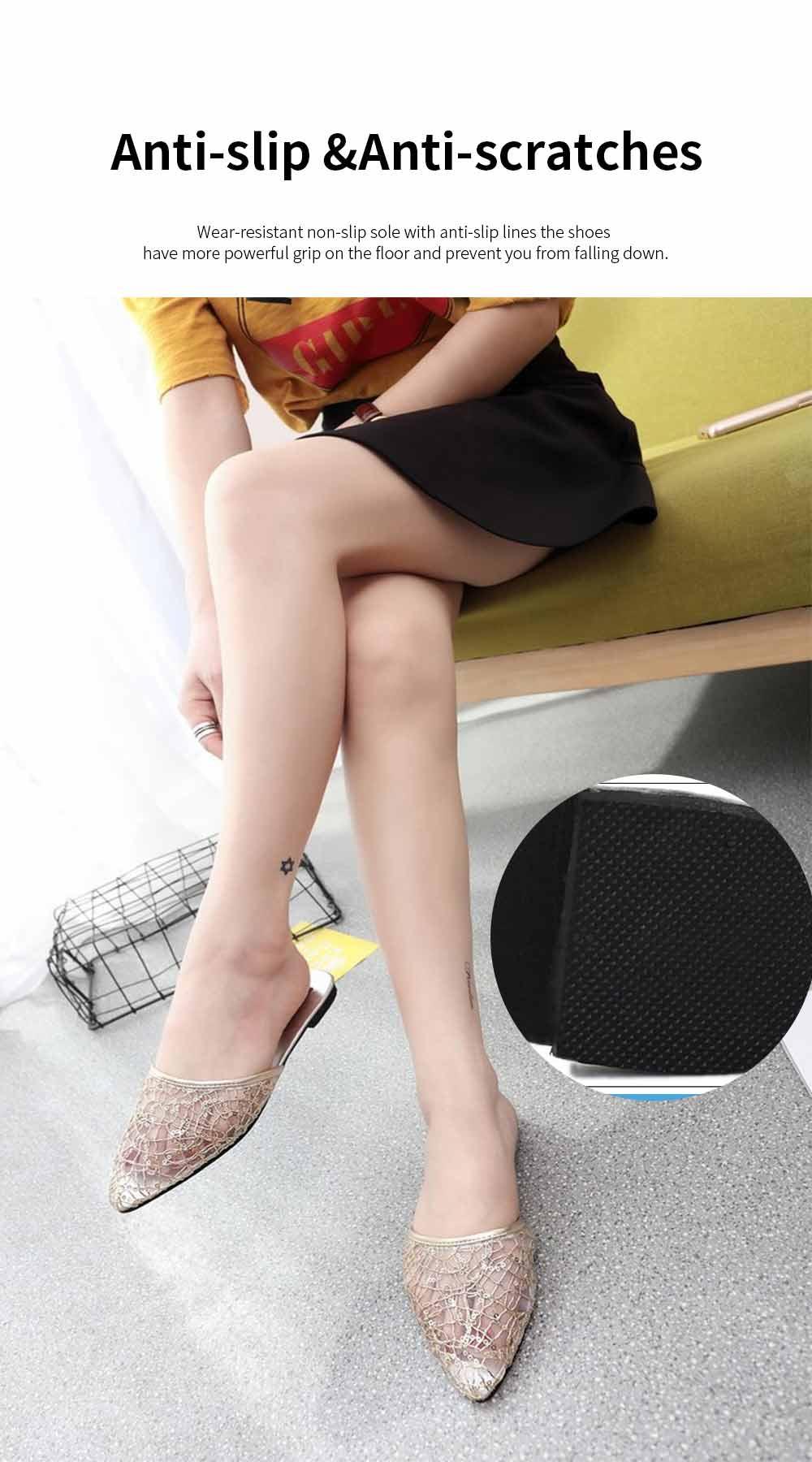 Women Slipper Pointed Toe Slides Flat Heels Backless Dress Sandals Hollow Out Flat Shoe 5