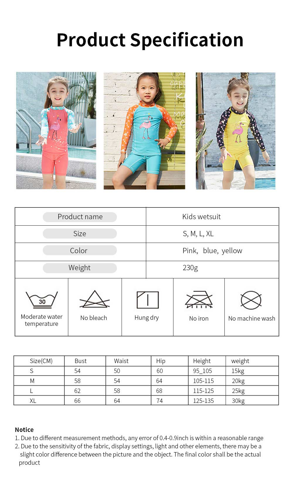 Lovely Kids Wetsuit Long Sleeve Slim Two Pieces Diving Suits for Swimming Snorkeling Surfing Fishing Back Zipper Suit 6