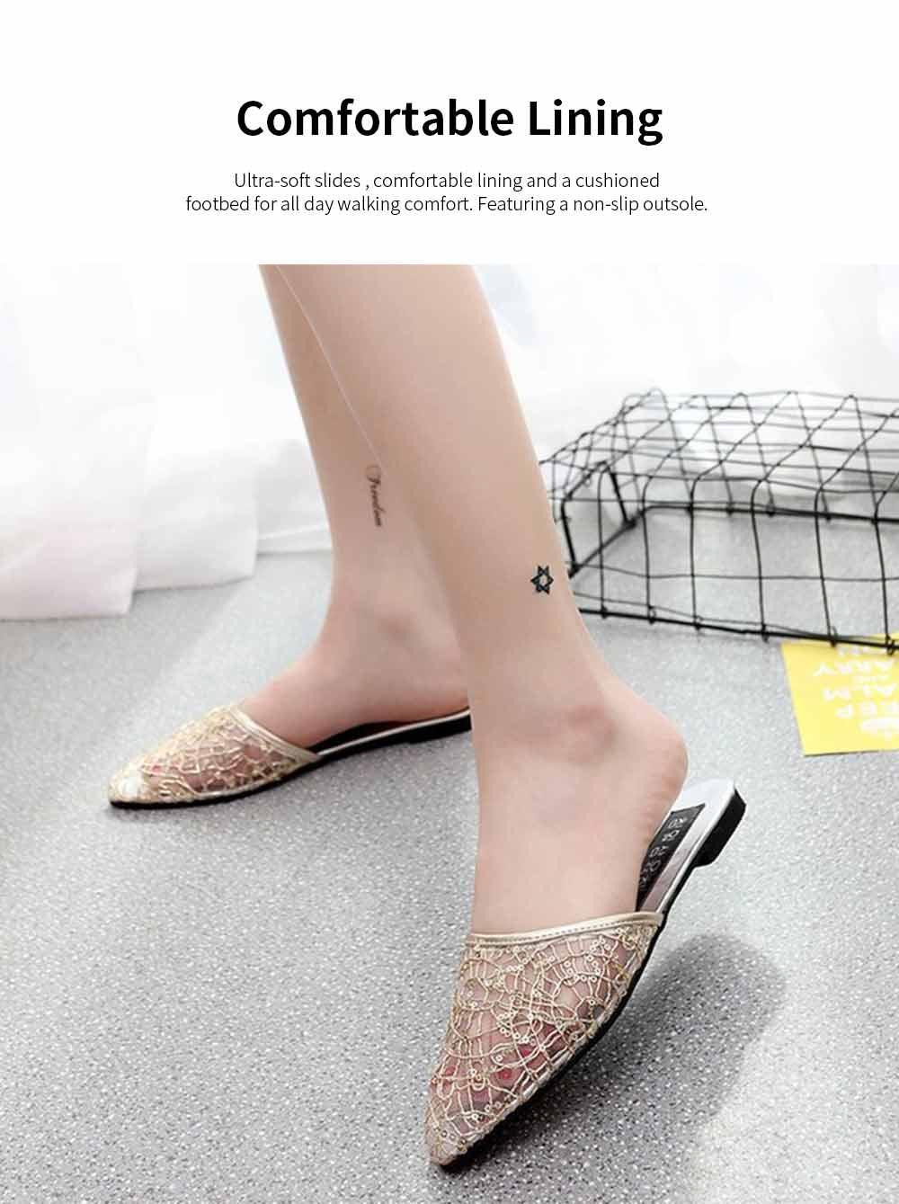 Women Slipper Pointed Toe Slides Flat Heels Backless Dress Sandals Hollow Out Flat Shoe 2