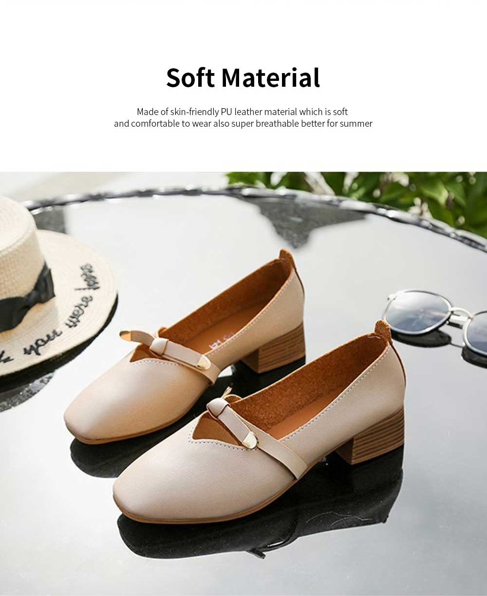 Women's Wide Width Flat Shoes Comfortable Bow Buckle Strap Casual Shoe Mary Jane Square Toe Ballet Flats 3