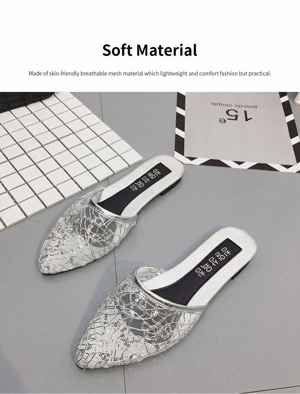 Women Slipper Pointed Toe Slides Flat Heels Backless Dress Sandals Hollow Out Flat Shoe 3