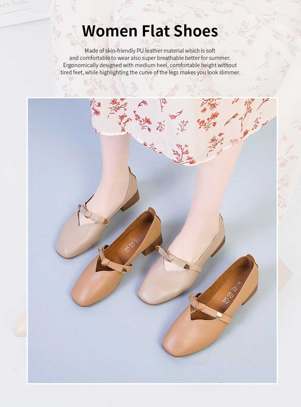 Women's Wide Width Flat Shoes Comfortable Bow Buckle Strap Casual Shoe Mary Jane Square Toe Ballet Flats 0