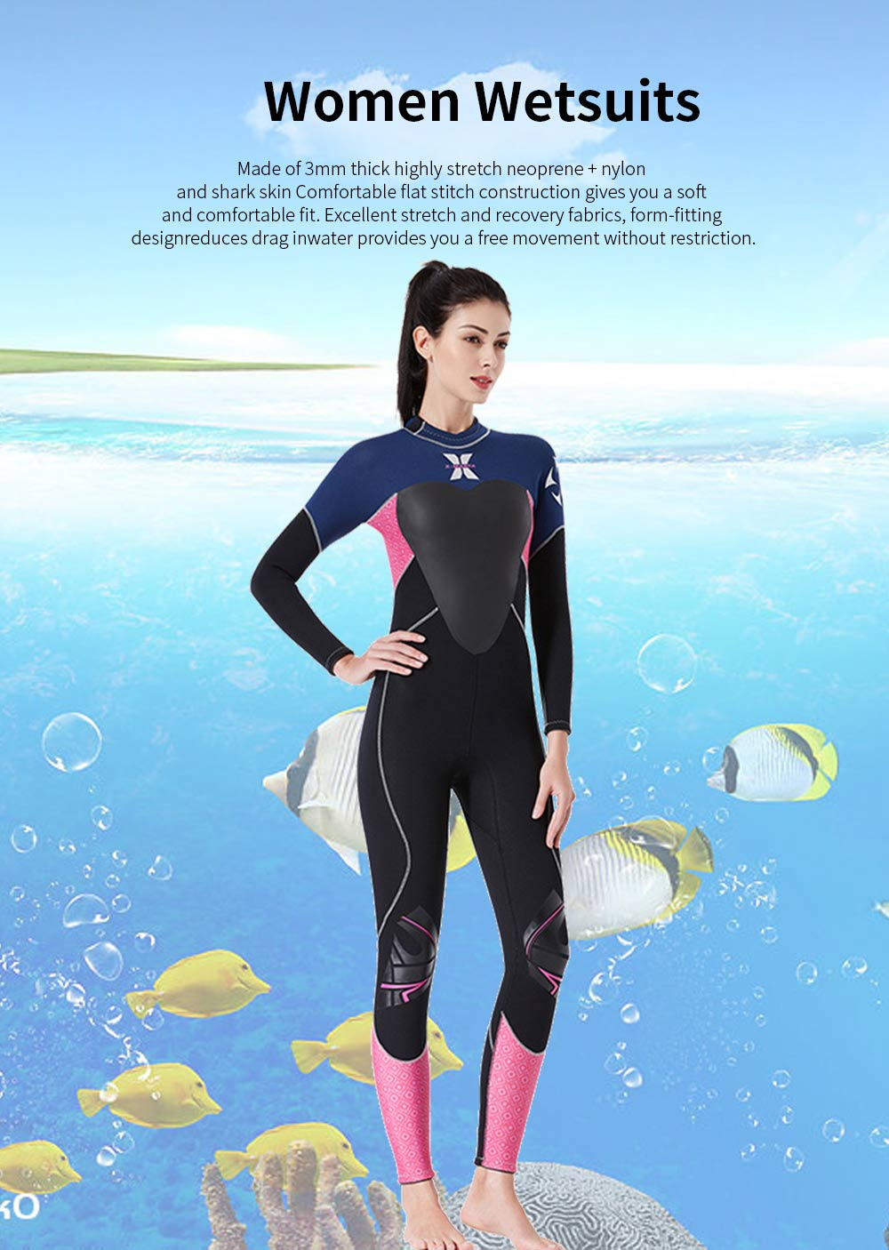 Women Full Body Wetsuits Premium 3mm Neoprene UV Protection Back Zip Diving Suits for Snorkeling Surfing Swimming Suit Jumpsuit 0