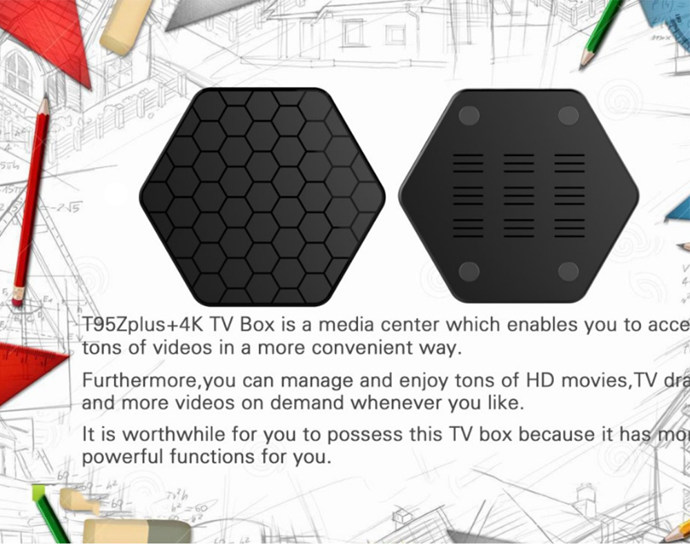 T95Z Plus Android 7.1 Tv Box Amlogic S912 3GB 32GB Ultimate Set-top Box with 2.4G+5G WiFi 1000MLAN HD 4k Player 5