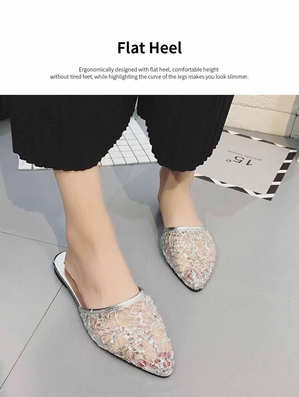 Women Slipper Pointed Toe Slides Flat Heels Backless Dress Sandals Hollow Out Flat Shoe 4
