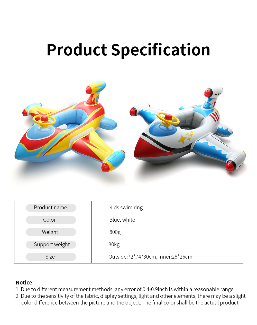 Kids Plane Big Swim Ring PVC Child Swim Seat Cartoon Floating Ring Toys Swimming Accessories for Kids Load Bearing 30KG 6
