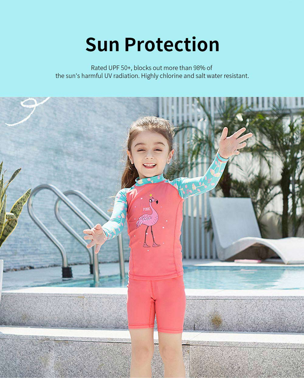 Lovely Kids Wetsuit Long Sleeve Slim Two Pieces Diving Suits for Swimming Snorkeling Surfing Fishing Back Zipper Suit 2