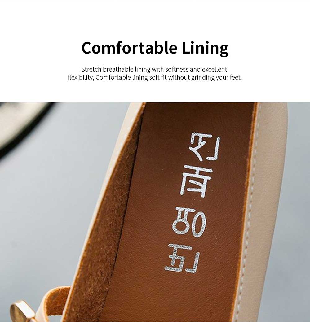 Women's Wide Width Flat Shoes Comfortable Bow Buckle Strap Casual Shoe Mary Jane Square Toe Ballet Flats 2