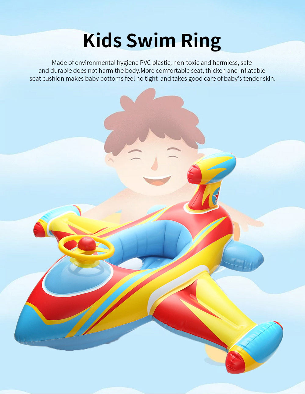 Kids Plane Big Swim Ring PVC Child Swim Seat Cartoon Floating Ring Toys Swimming Accessories for Kids Load Bearing 30KG 0