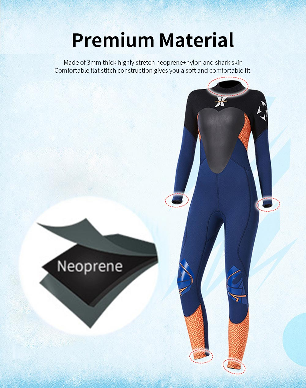 Women Full Body Wetsuits Premium 3mm Neoprene UV Protection Back Zip Diving Suits for Snorkeling Surfing Swimming Suit Jumpsuit 3