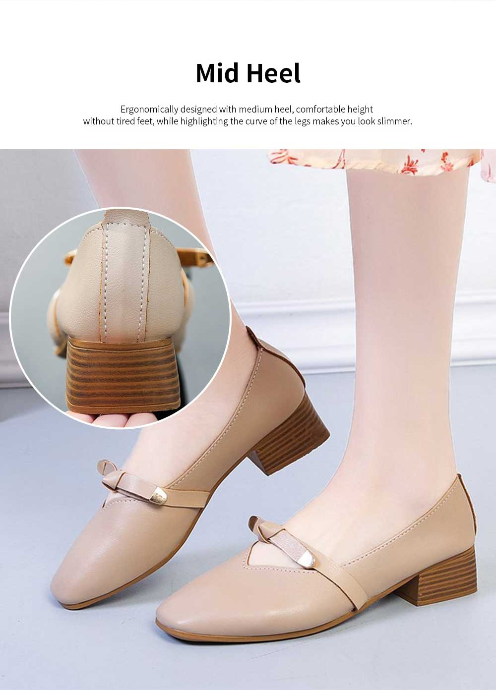 Women's Wide Width Flat Shoes Comfortable Bow Buckle Strap Casual Shoe Mary Jane Square Toe Ballet Flats 4