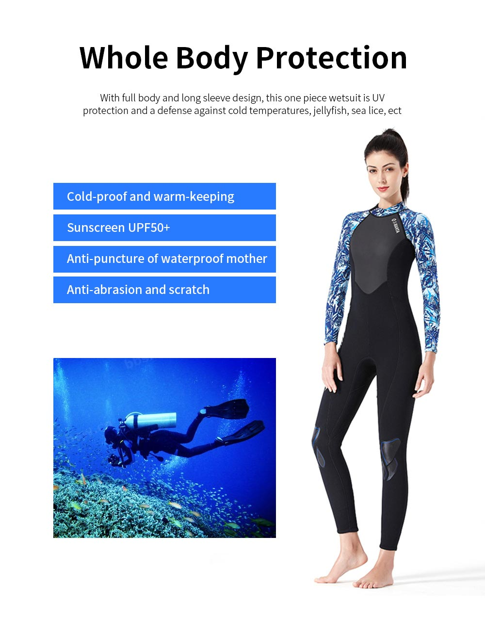 2019 New Diving Suits 3mm Neoprene One Piece Sport Skin Spearfishing Full Suit for Men and Women Snorkeling Scuba Diving Surfing 1