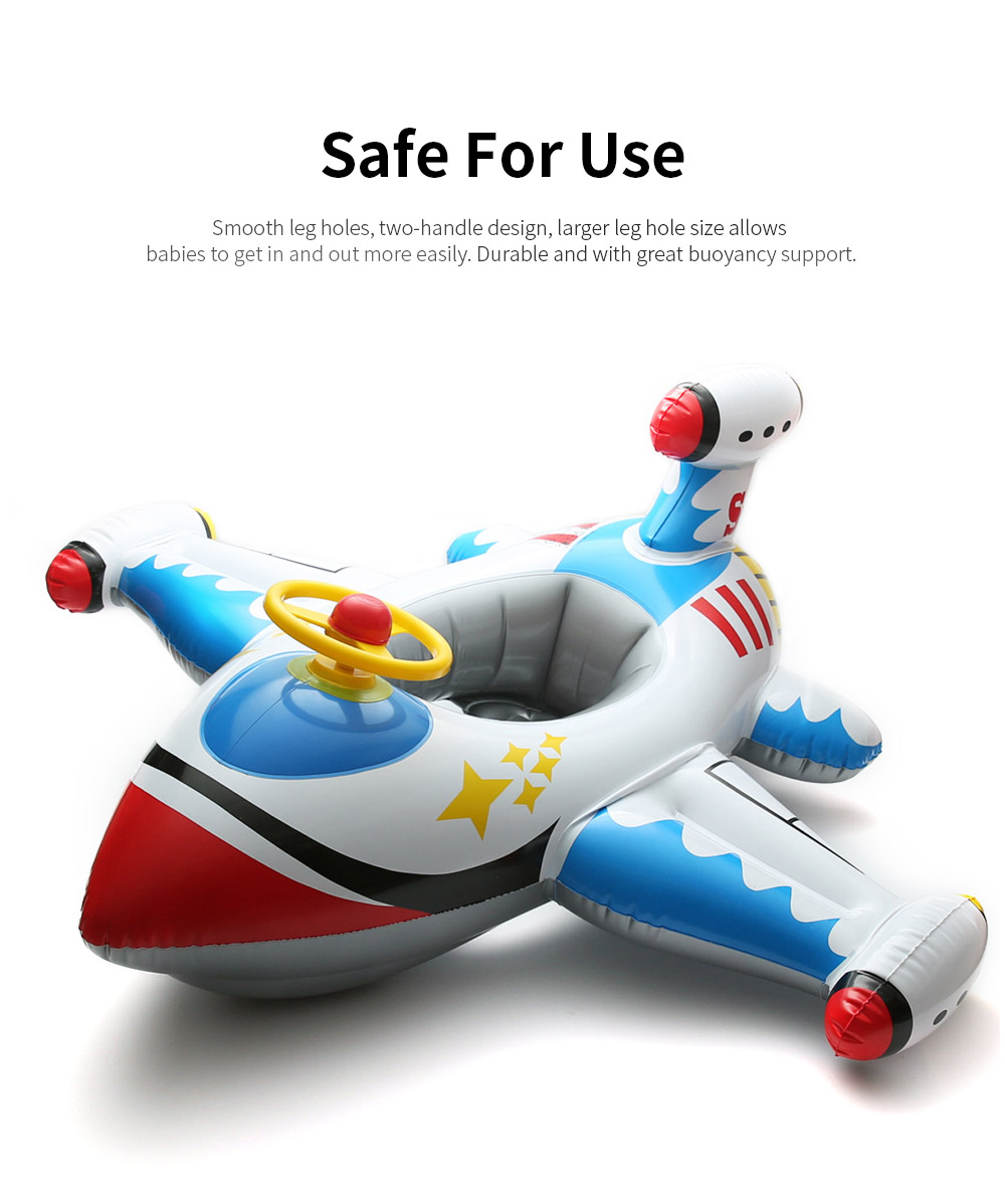 Kids Plane Big Swim Ring PVC Child Swim Seat Cartoon Floating Ring Toys Swimming Accessories for Kids Load Bearing 30KG 1