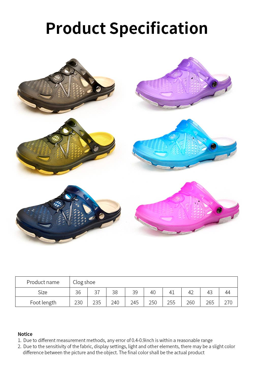 Clog Shoe Comfort Anti-slip Casual Water Shoe Beach Footwear Summer Slippers Sandal for Men Women 6