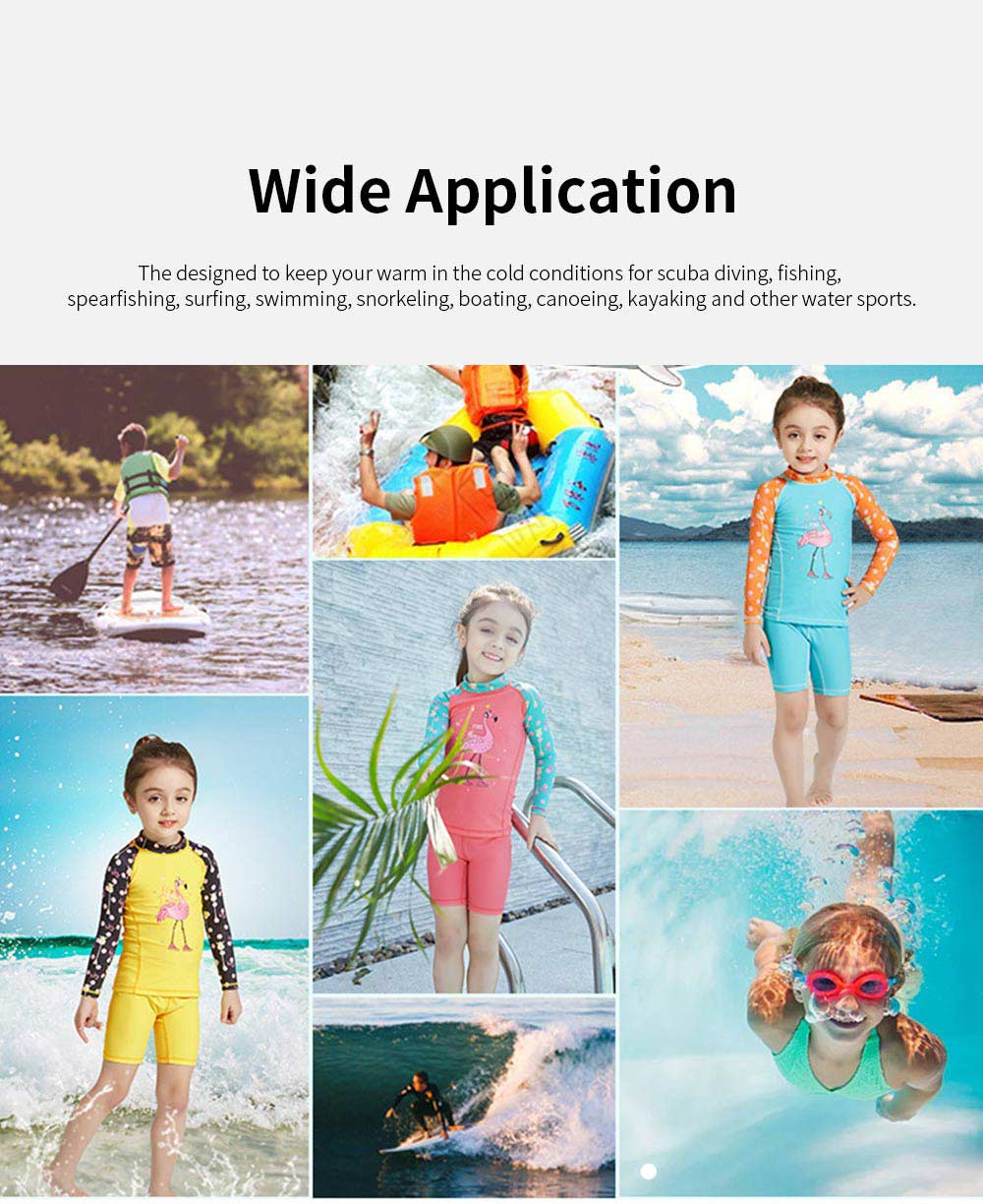 Lovely Kids Wetsuit Long Sleeve Slim Two Pieces Diving Suits for Swimming Snorkeling Surfing Fishing Back Zipper Suit 5