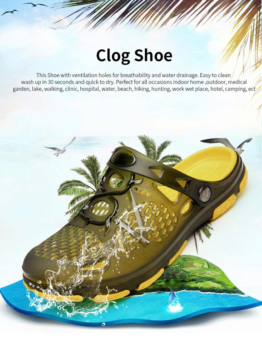 Clog Shoe Comfort Anti-slip Casual Water Shoe Beach Footwear Summer Slippers Sandal for Men Women 0