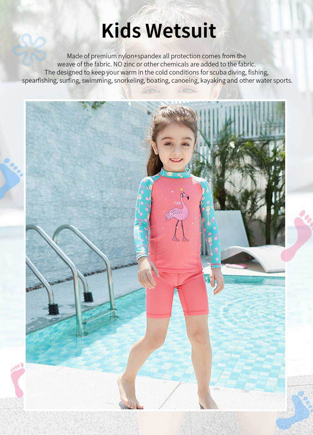 Lovely Kids Wetsuit Long Sleeve Slim Two Pieces Diving Suits for Swimming Snorkeling Surfing Fishing Back Zipper Suit 0