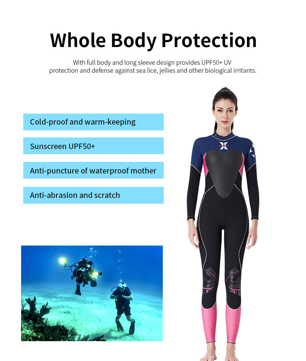 Women Full Body Wetsuits Premium 3mm Neoprene UV Protection Back Zip Diving Suits for Snorkeling Surfing Swimming Suit Jumpsuit 1