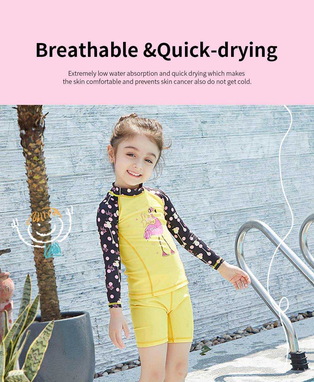 Lovely Kids Wetsuit Long Sleeve Slim Two Pieces Diving Suits for Swimming Snorkeling Surfing Fishing Back Zipper Suit 4