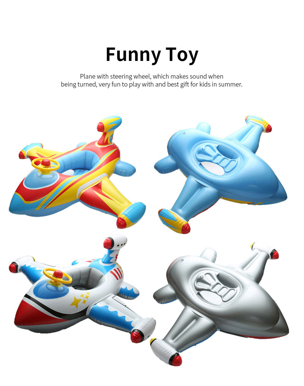 Kids Plane Big Swim Ring PVC Child Swim Seat Cartoon Floating Ring Toys Swimming Accessories for Kids Load Bearing 30KG 4